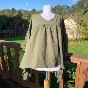 L&B green oversized batwing top